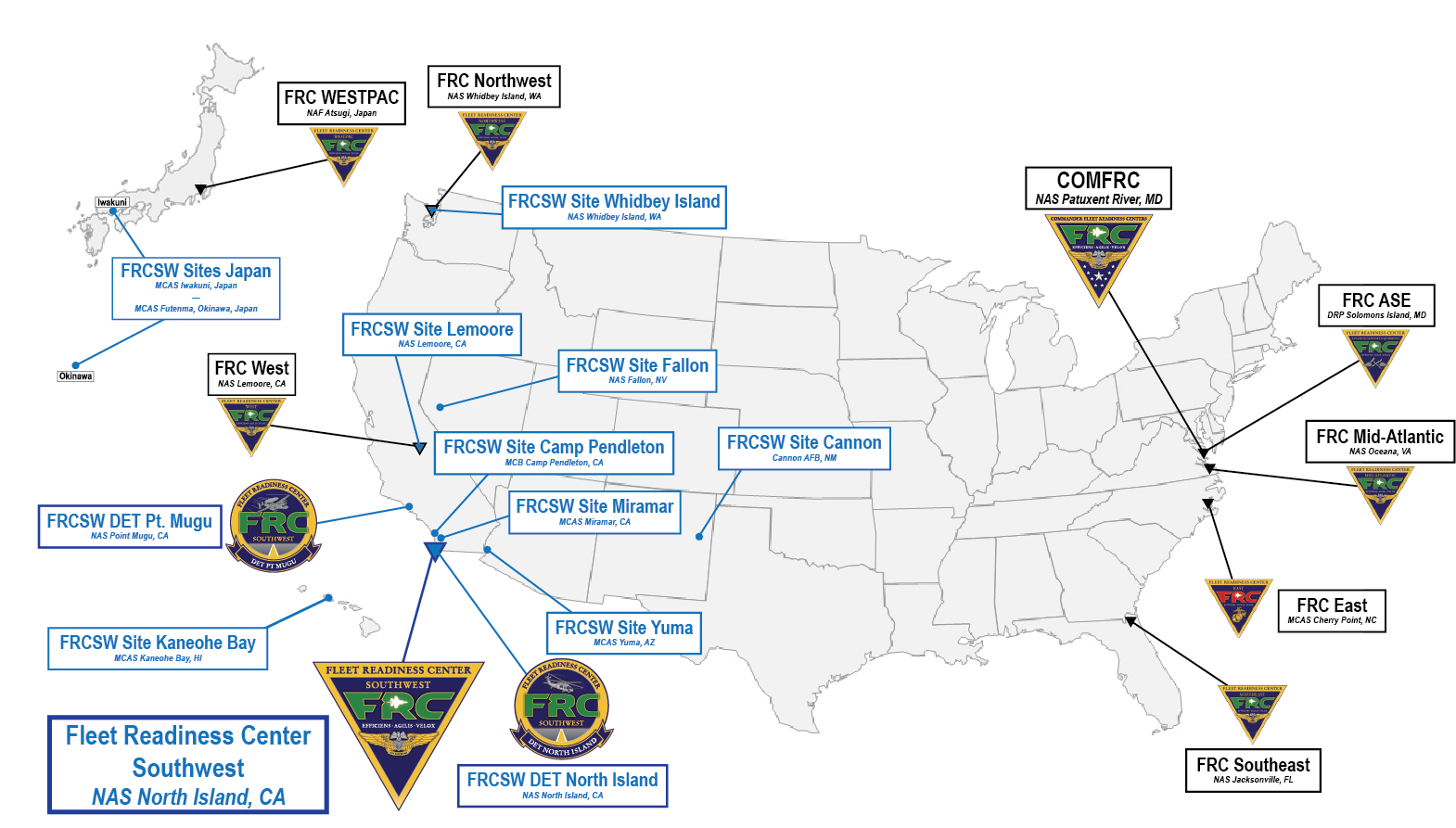 Fleet Readiness Center Southwest Site Locations and Detachments Map